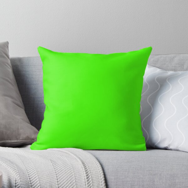 PLAIN SOLID COLOR NEON FLUROESCENT GREEN  Throw Pillow