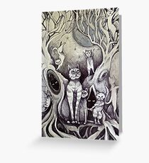 they danced under the light of the moon cat art Greeting Card