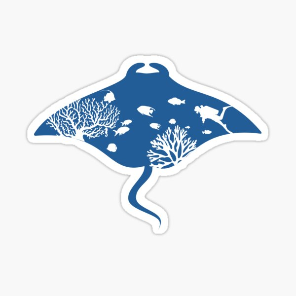 Diving with manta rays Sticker