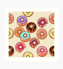 I Love Donuts Yummy Baked Goodies Sugary Sweet Art Print