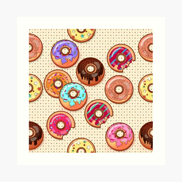 I Love Donuts Yummy Baked Goodies Sugary Sweet Art Print