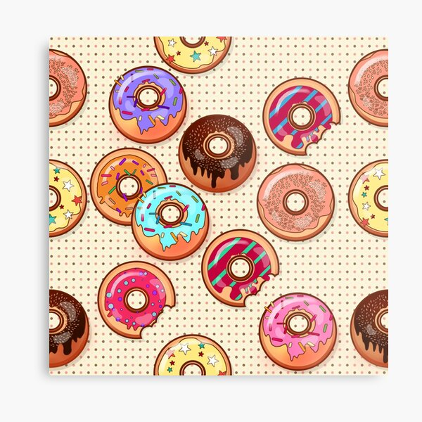 I Love Donuts Yummy Baked Goodies Sugary Sweet Metal Print