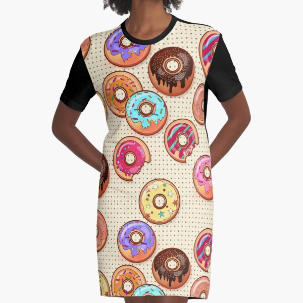 I Love Donuts Yummy Baked Goodies Sugary Sweet Graphic T-Shirt Dress