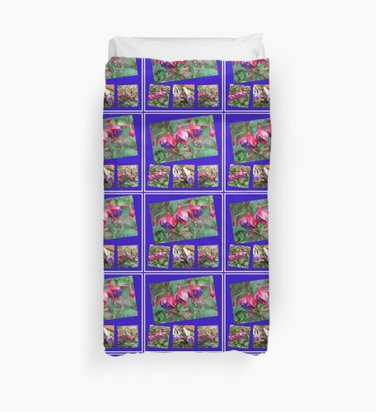 Tanzen Fuchsia Belles - Sommer-Blumen-Collage Bettbezug