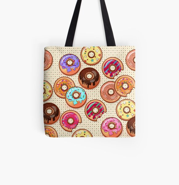 I Love Donuts Yummy Baked Goodies Sugary Sweet All Over Print Tote Bag