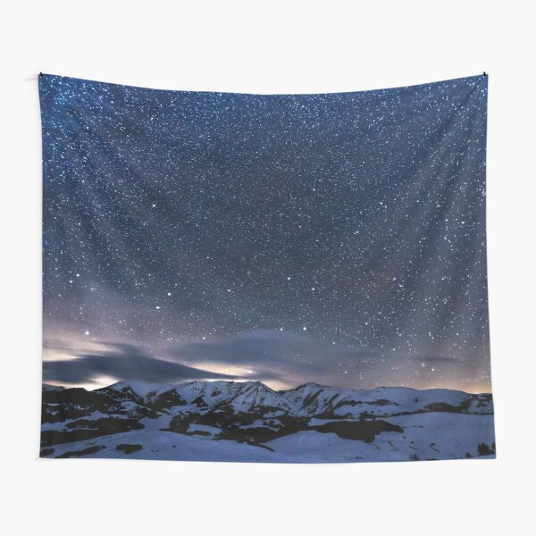 Starry Night Sky Winter Mountain Tapestry