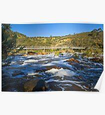 Foot bridge over rapids Poster