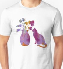A cat and a vase of flowers T-Shirt