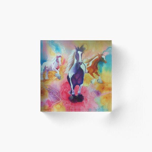 Painted Horses Acrylic Block