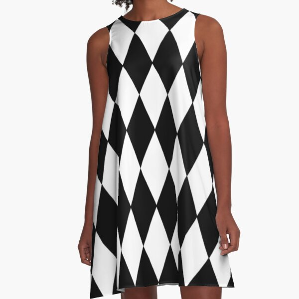 LARGE BLACK AND WHITE HARLEQUIN- DIAMOND- ARGYLE  PATTERN DESIGNED FOR HOME DECOR AND CLOTHING A-Line Dress