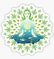 Young woman practicing meditation 3 Sticker