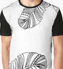 Hand Drawn Black and White Feather Background Graphic T-Shirt