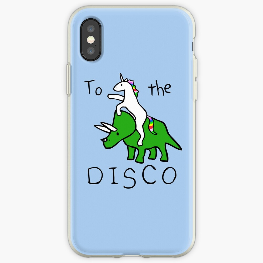 To The Disco (Unicorn Riding Triceratops) iPhone Case & Cover