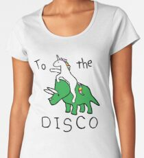 Zur Disco (Unicorn Riding Triceratops) Frauen Premium T-Shirts
