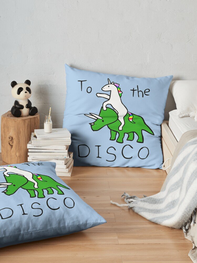 Alternate view of To The Disco (Unicorn Riding Triceratops) Floor Pillow