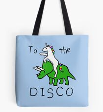 To The Disco (Unicorn Riding Triceratops) Tote Bag
