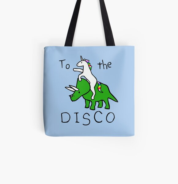 To The Disco (Unicorn Riding Triceratops) All Over Print Tote Bag