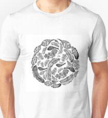 Hand Drawn Black & White Feather Background Unisex T-Shirt