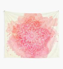 Pink Watercolor Mandala Wall Tapestry