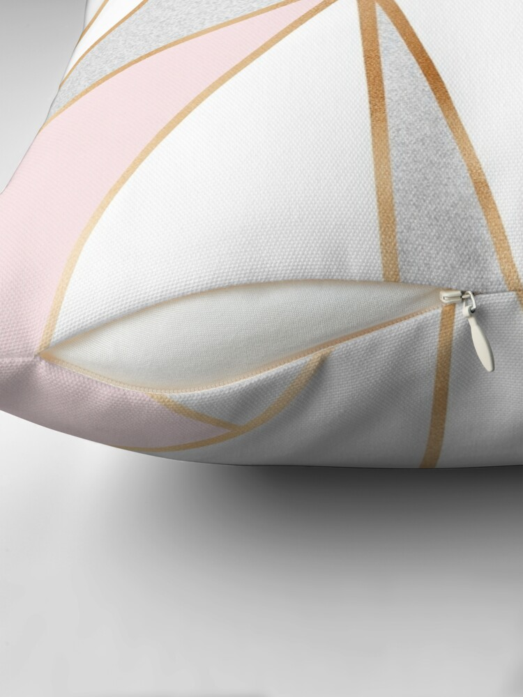 Alternate view of Pink, Grey & Gold Geo Throw Pillow