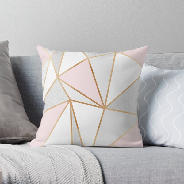 Pink, Grey & Gold Geo Throw Pillow