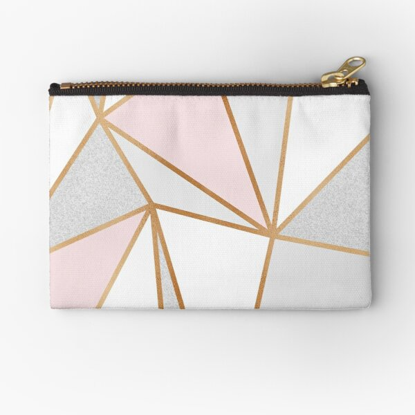 Pink, Grey & Gold Geo Zipper Pouch