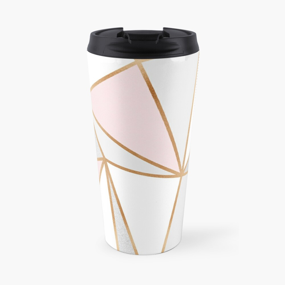 Pink, Grey & Gold Geo Travel Mug