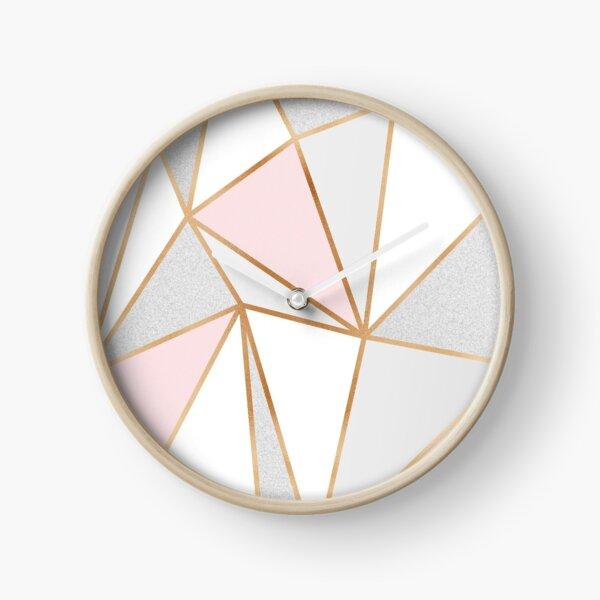 Pink, Grey & Gold Geo Clock