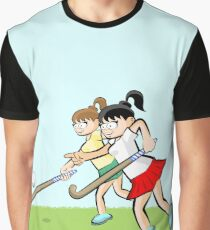 Girls hitting the ball with the hockey stick Graphic T-Shirt