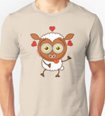 Crazy sheep feeling lucky in love Unisex T-Shirt