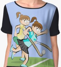 Girl carrying ball with her hockey stick Women's Chiffon Top