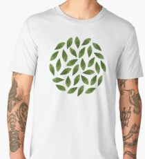 Green Watercolor Leaves Pattern Men's Premium T-Shirt