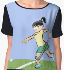 Hockey girl pointing at ball position Women's Chiffon Top