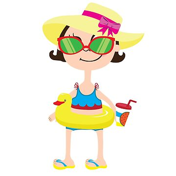 Cartoon girl in yellow hat with pink bow, a rubber ring duck swimming with a glass of smoothies in hand. In red sunglasses by vasilixa