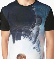 Astronaut Helmet Head In Outer Space Galaxy Art Graphic T-Shirt