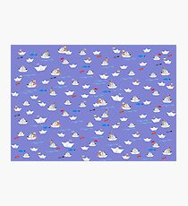 Paper Boats pattern Photographic Print