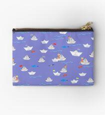 Paper Boats pattern Studio Clutch