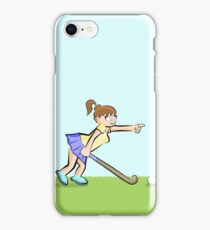 Hockey girl pointing her teammates at each location iPhone Case/Skin