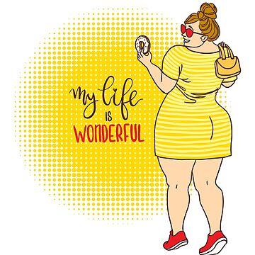 Curvy cartoon girl with donut. by vasilixa