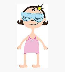 Cartoon girl in pink sleepwear with sleeping mask on eyes. Princess with crown Photographic Print