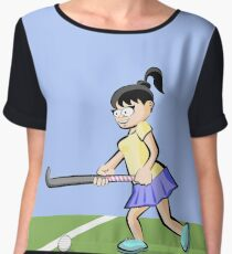 Girl playing hockey ready to hit the ball Women's Chiffon Top