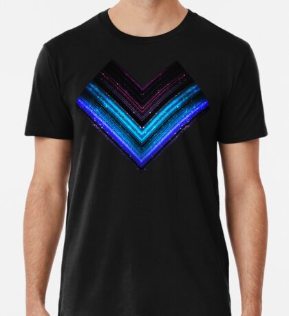 Sparkly metallic blue and purple galaxy chevron lines Men's Premium T-Shirt
