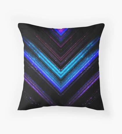 Sparkly metallic blue and purple galaxy lines Throw Pillow