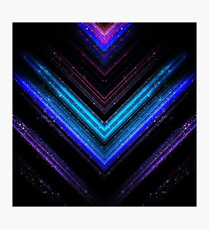 Sparkly metallic blue and purple galaxy lines Photographic Print