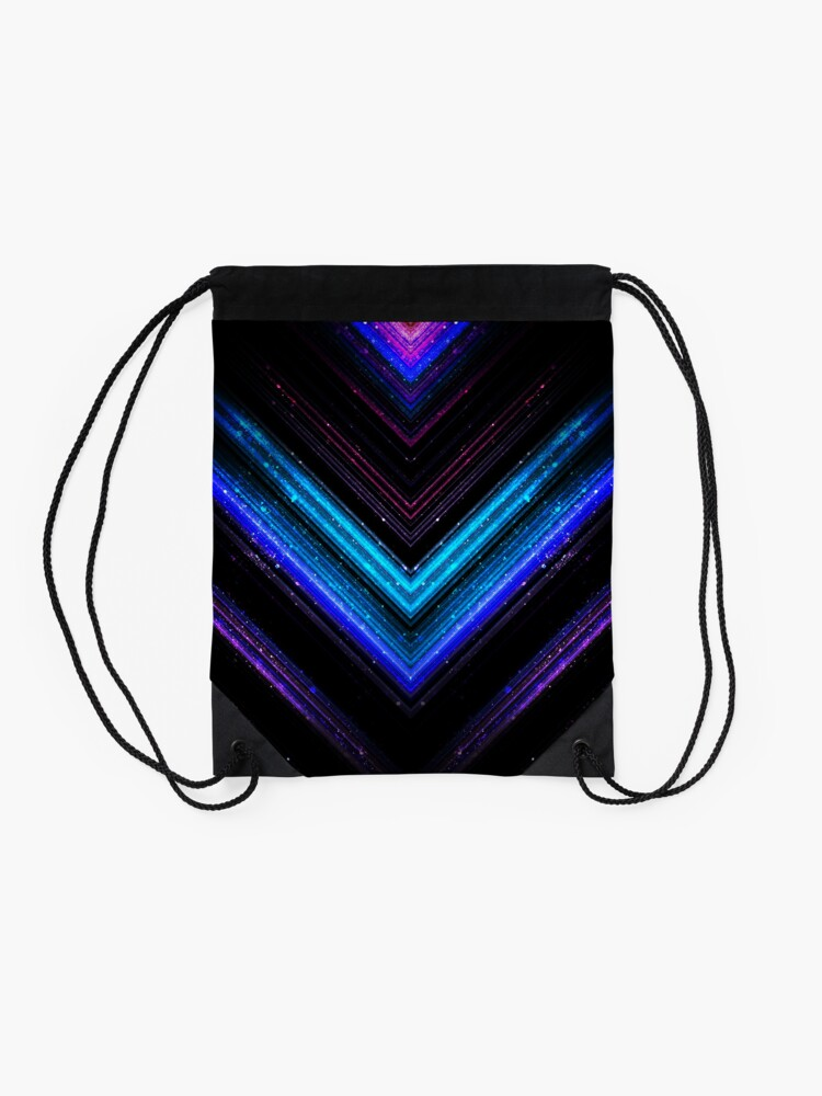 Alternate view of Sparkly metallic blue and purple galaxy chevron lines Drawstring Bag