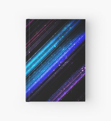 Sparkly metallic blue and purple galaxy chevron lines Hardcover Journal