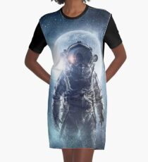 fog astronaut and Earth with moon background   Graphic T-Shirt Dress
