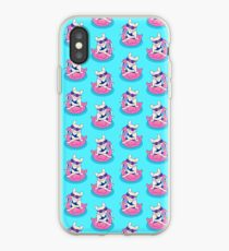 Frenchie enjoys Summer on Flamingo Pool Float in swimming pool iPhone Case