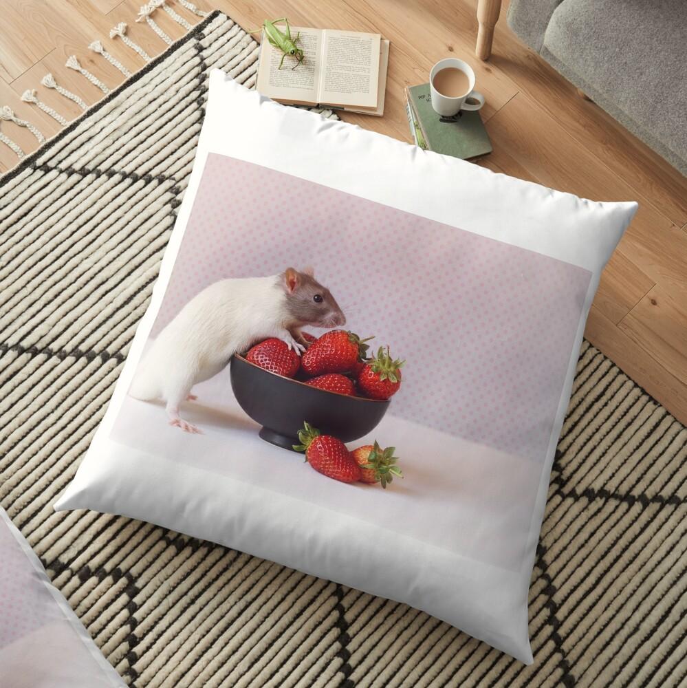 Snoozy loves strawberries Floor Pillow
