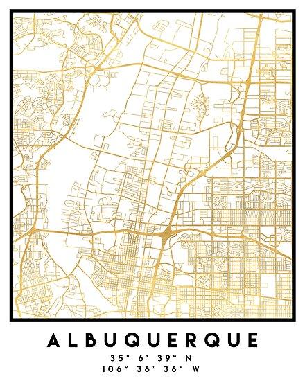 ALBUQUERQUE NEW MEXICO CITY STREET MAP ART\